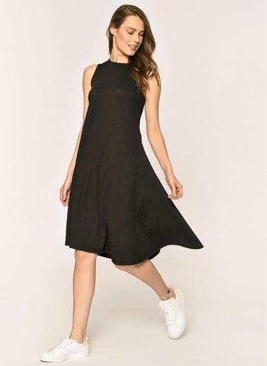 Loves You Kolsuz Asimetrik Elbise Siyah